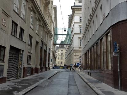 Wiener Straßenbild mit Pferd.