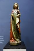 Hl. Agnes mit dem Attribut eines Lamms, Sinnbild des Opfers Christi. Sie erschien so den am Grab trauernden Eltern und Freunden Jesu. Aus dem Bodenseegebiet, um 1320.