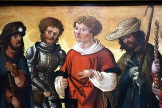 """Bildausschnitt aus """"Die Heiligen Joakobus d.Ä., Florian, Laurentius, Wendelin und Genoveva."""" Es handelt sich um Schutzpatrone aus verschiedenen Jahrhunderten. Oberrhein, um 1510."""